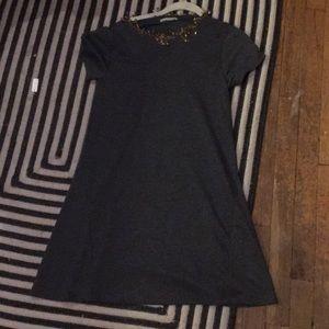 Zara Grey t-shirt dress with safety pins